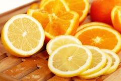 3 cytryny pomarańcze plasterka Obrazy Stock
