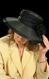 3 czarne kapelusze kobieta Fotografia Royalty Free