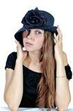 3 czarnych kapeluszy kobieta Zdjęcia Stock