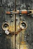 3 dörrar säkrar trä Arkivbilder