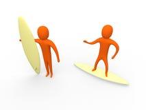 3 d 1 surfiarze Zdjęcie Royalty Free