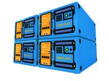 3 d 4 niebieskie serwery Zdjęcia Stock
