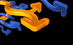 3-D arrows. Three-dimensional blue and orange arrows pointing in various direction.  Black background Royalty Free Stock Images