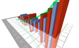 3-D Business Bar Graph. On reflective white grid Stock Image