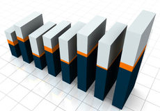 3-D Business Bar Graph. On reflective white grid Stock Photography