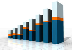 3-D Business Bar Graph. On reflective white grid Royalty Free Stock Photography