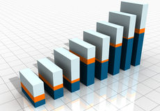 3-D Business Bar Graph. On reflective white grid Stock Photos