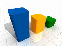 3-D Business Bar Graph on reflective white grid Royalty Free Stock Photo