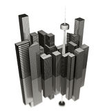 3-D city illustration. Three-dimensional sketching of a cluster of tall buildings and skyscrapers in a city Royalty Free Stock Photo