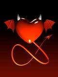 3 d diabelskie gradientowego odseparowana czerwone serce Zdjęcia Stock