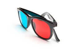 3-D Glasses. 3-D stereoscopic red, cyan cinema glasses on white background Stock Photography