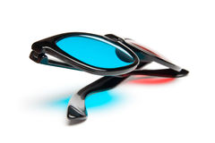 3-D Glasses. 3-D stereoscopic red, cyan cinema glasses on white background royalty free stock images
