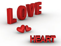 3-D love and heart words. Three dimensional image of words love and hearts Stock Photos