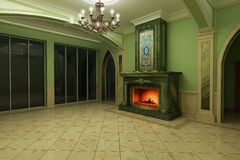 3-D model interior of the living. The interior of the living room in classical style with the fireplace of green marble Royalty Free Stock Image