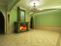 3-D model interior of the living room. The interior of the living room in classical style with the fireplace of green marble Royalty Free Stock Images
