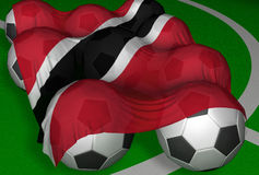 3 d, piłka nożna bandery wytapiania Trinidad Tobago Zdjęcie Royalty Free