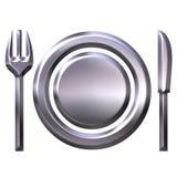 3 d pojęcia jedzenia srebra Obrazy Royalty Free
