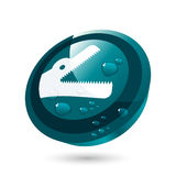 3-D predator icon or button. A three-dimensional white on blue icon or button with the open mouth of a predator crocodile or dinosaur and water droplets on it Stock Photos