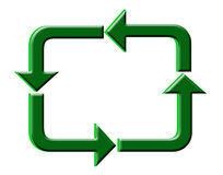 3 D recycle arrows. Green 3 dimensional recycle arrows on white background Stock Image