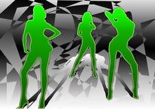 3 dansare Vektor Illustrationer