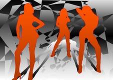 3 dansare tre Stock Illustrationer