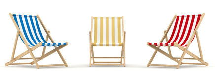 3 deck chair. 3d render of 3 deck chair in different color and position royalty free illustration