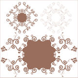 3 decorative floral frame. 3 brown decorative floral frame Royalty Free Stock Photo