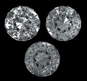 3 diamonds with clipping path. Set of diamonds on black BG -  with clipping path Stock Image