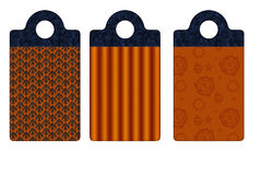 3 différentes étiquettes d'orange d'étiquettes de bleu Image stock
