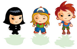 3 different cartoon girls. Three different cute girl characters dresses as different styles Stock Image