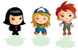 3 different cartoon girls Stock Image