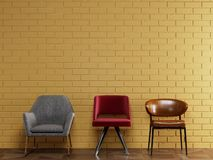 Free 3 Different Chairs In Modern Style Standing In Front Of Yellow Brick Wall With Copy Space Stock Photo - 166183360