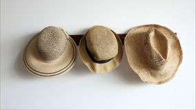Free 3 Different Straw Hats In Front Of White Background Stock Photography - 120558522