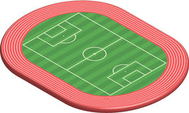 3 dimensional football field pitch. Along with racetrack Royalty Free Stock Photos