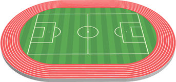 3 dimensional football field pitch. Along with racetrack Stock Photography