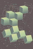 3 dimensional retro outer space cubes. Collection of 3D cubes in a retro, outer space themed design. Cubes, back outlines and background elements are all on Stock Image