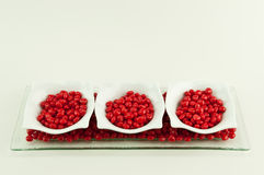 3 dishes with red candy Stock Photography