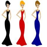 3 divas em vestidos longos ilustração stock