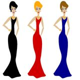 3 Divas In Long Dresses Stock Image
