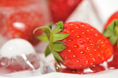 3 djupfryst jordgubbar Arkivbilder