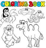 3 djur book färgläggningvändkretsen Royaltyfria Foton