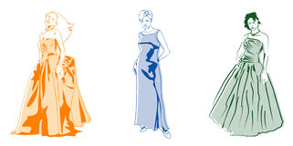 3 dresses. 3 simple, but elegant, stock illustrations of women in full length gowns Stock Images