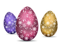 3 easter eggs. Three easter eggs isolated on a white background Royalty Free Stock Photography