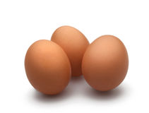 3 Eier auf weißem Hintergrund Lizenzfreies Stockbild