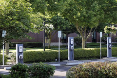 3 Electric Vehicle Charging Stations Stock Photo