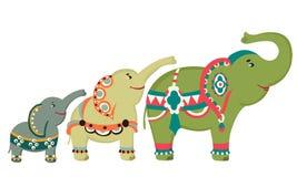 3 elephants. 3 painted  elephant.vector illustration Royalty Free Stock Photography