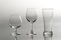 3 empty glasses in different style Royalty Free Stock Photo