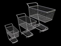 3 empty supermarket trolley Royalty Free Stock Image