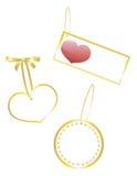 3 etiquetas de los regalos de la tarjeta del día de San Valentín Imagenes de archivo