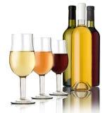 3 exponeringsglas av wine Royaltyfri Fotografi